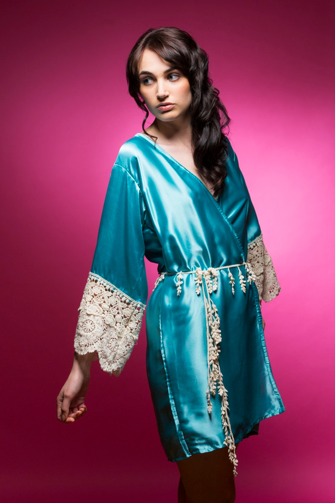 Turquoise Blue Silk Lace Bridesmaids Robe