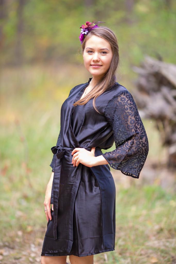 Black Luxurious Silk Robe with Silk Chiffon Devore Sleeves