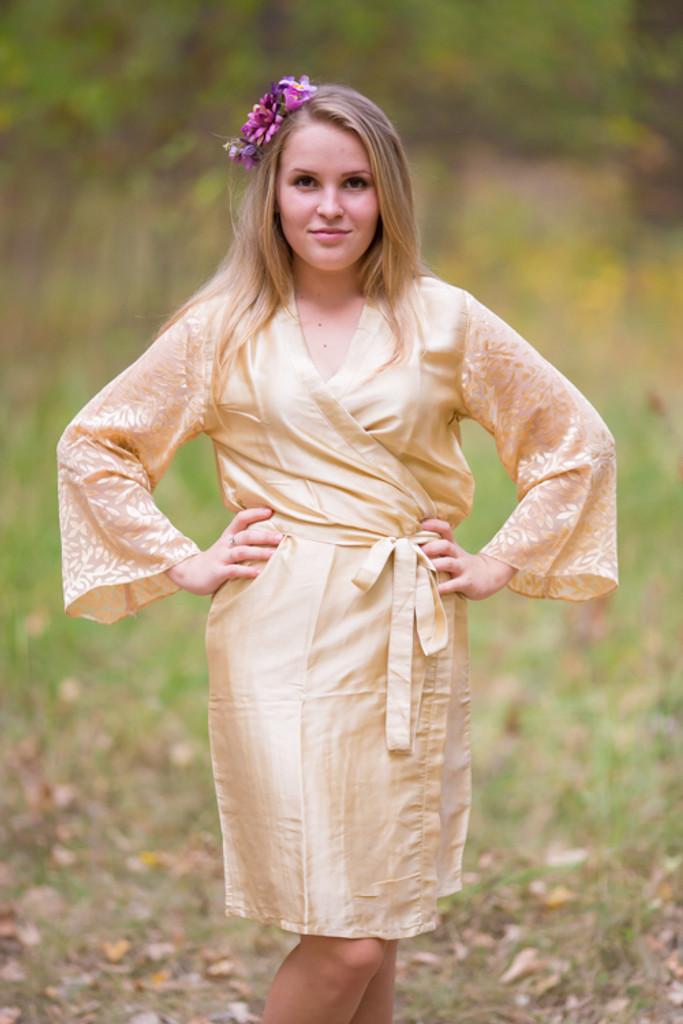 Champagne Luxurious Silk Robe with Silk Chiffon Devore Sleeves