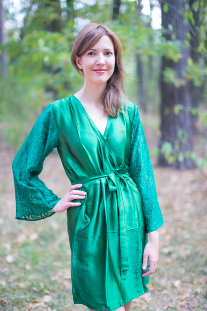69bd540e0a Green bridesmaids wedding robes in devore sleeves pattern