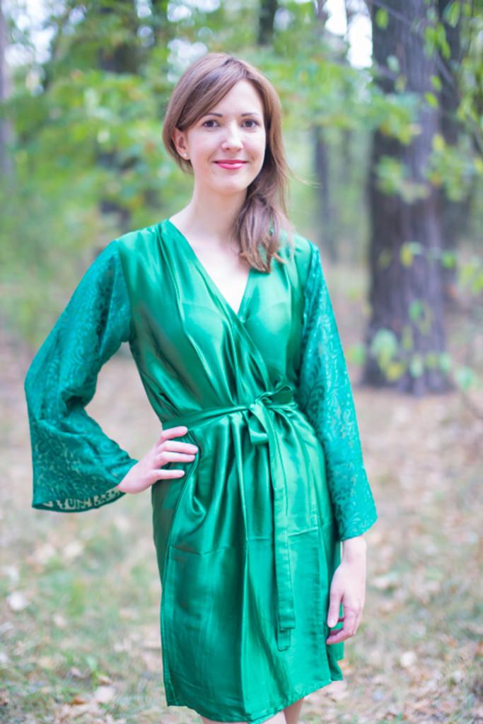 Emerald Green Luxurious Silk Robe with Silk Chiffon Devore Sleeves