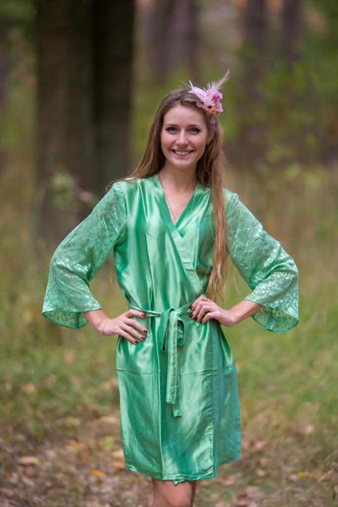 Green Luxurious Silk Robe with Silk Chiffon Devore Sleeves