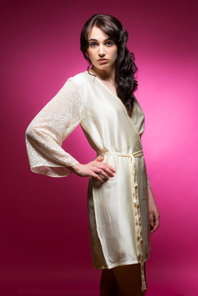 47445b809c Ivory bridesmaids wedding robes in devore sleeves pattern