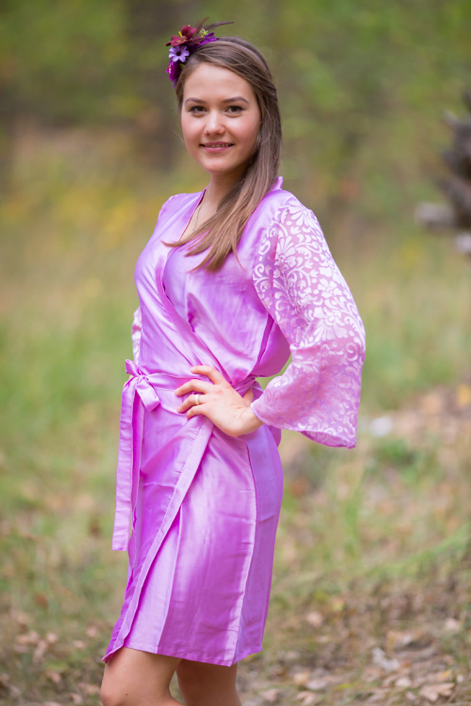 Pinky Lilac Luxurious Silk Robe with Silk Chiffon Devore Sleeves