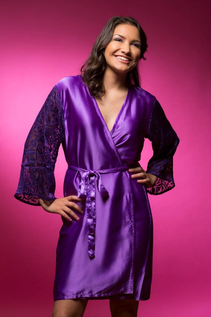 64fa0c6523 Purple bridesmaids wedding robes in devore sleeves pattern