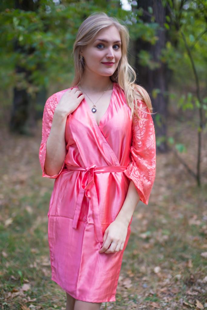 b5920f9300 Pink bridesmaids wedding robes in devore sleeves pattern