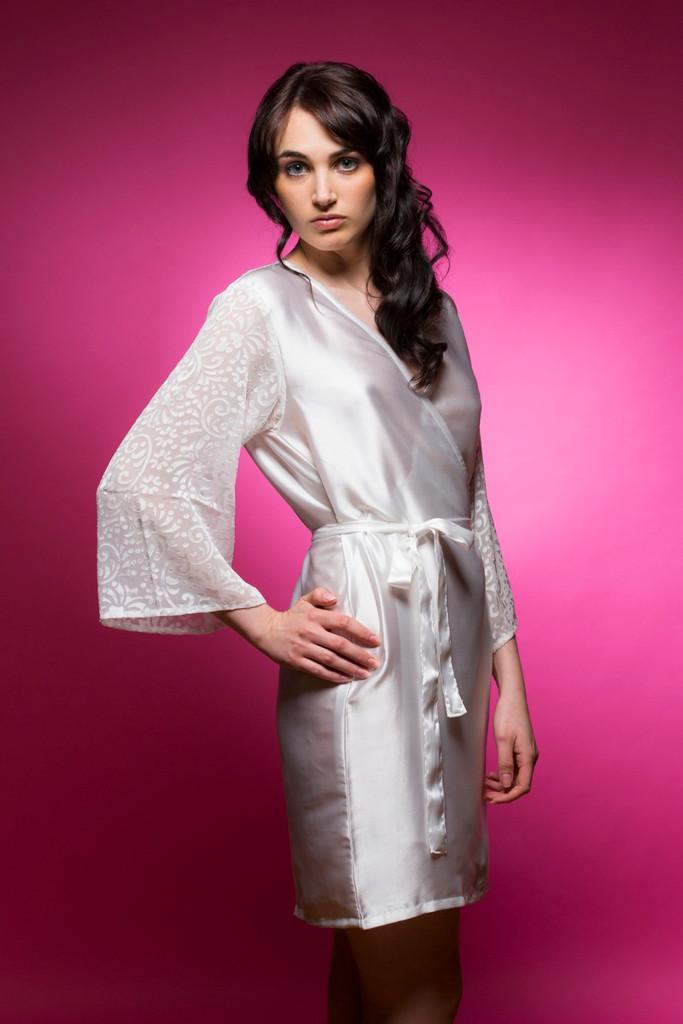 262b5c9351 White bridesmaids wedding robes in devore sleeves pattern