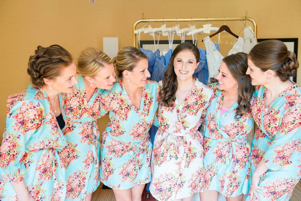 many choices of sneakers for cheap original Light Blue Floral Posy Robes for bridesmaids | Getting Ready Bridal Robes