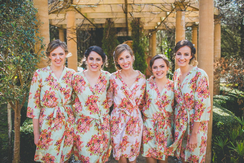 Mint Floral Posy Robes for bridesmaids | Getting Ready Bridal Robes