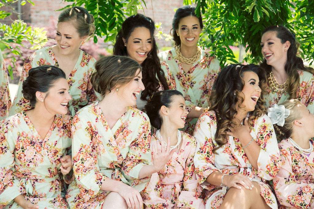 Mint Floral Robes for bridesmaids | Getting Ready Bridal Robes