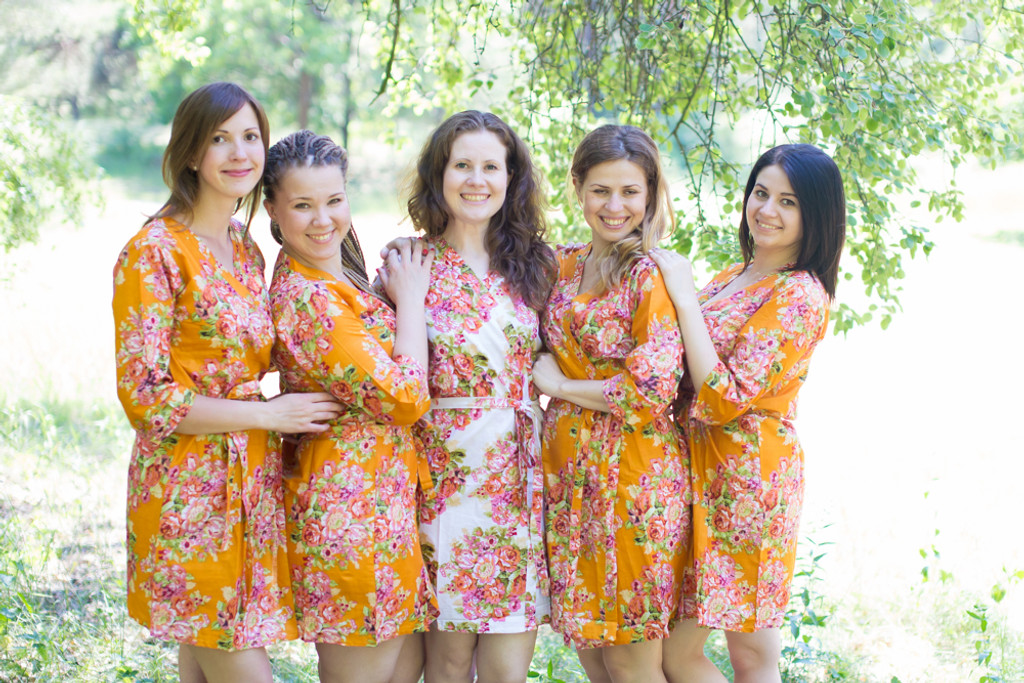Mustard Robes for bridesmaids   Getting Ready Bridal Robes