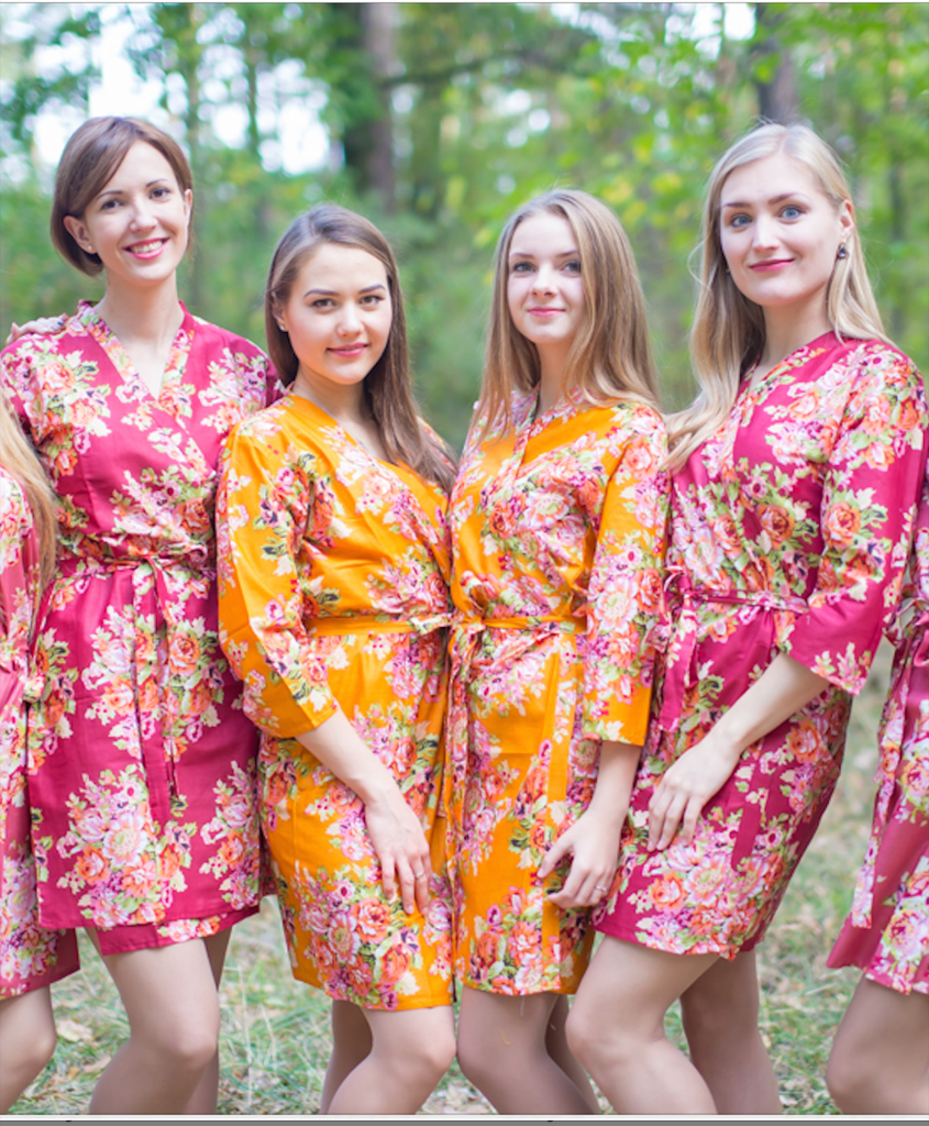 Mustard Gold Floral Posy Robes for bridesmaids   Getting Ready Bridal Robes