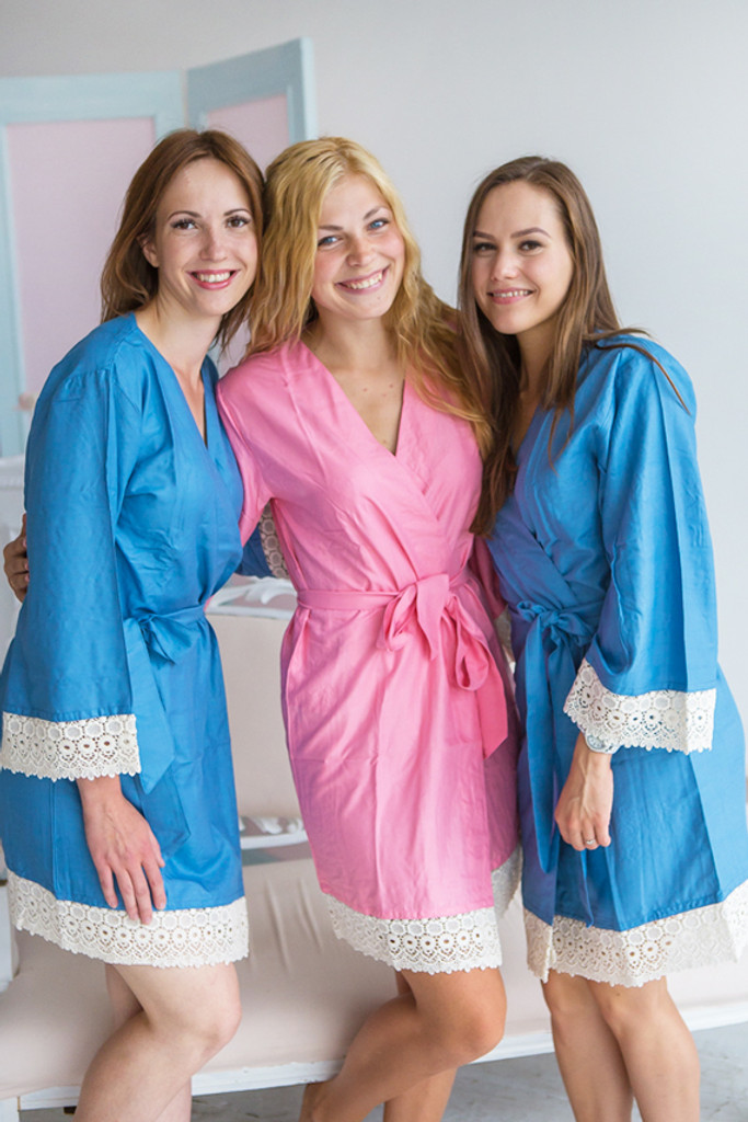 Solid Dusty Blue and Rose Pink Rayon Lace Trim Robes