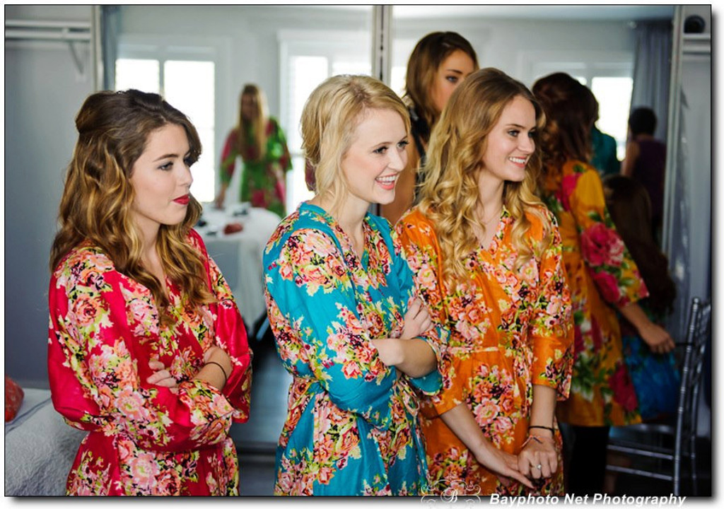 Red Floral Posy Robes For Bridesmaids