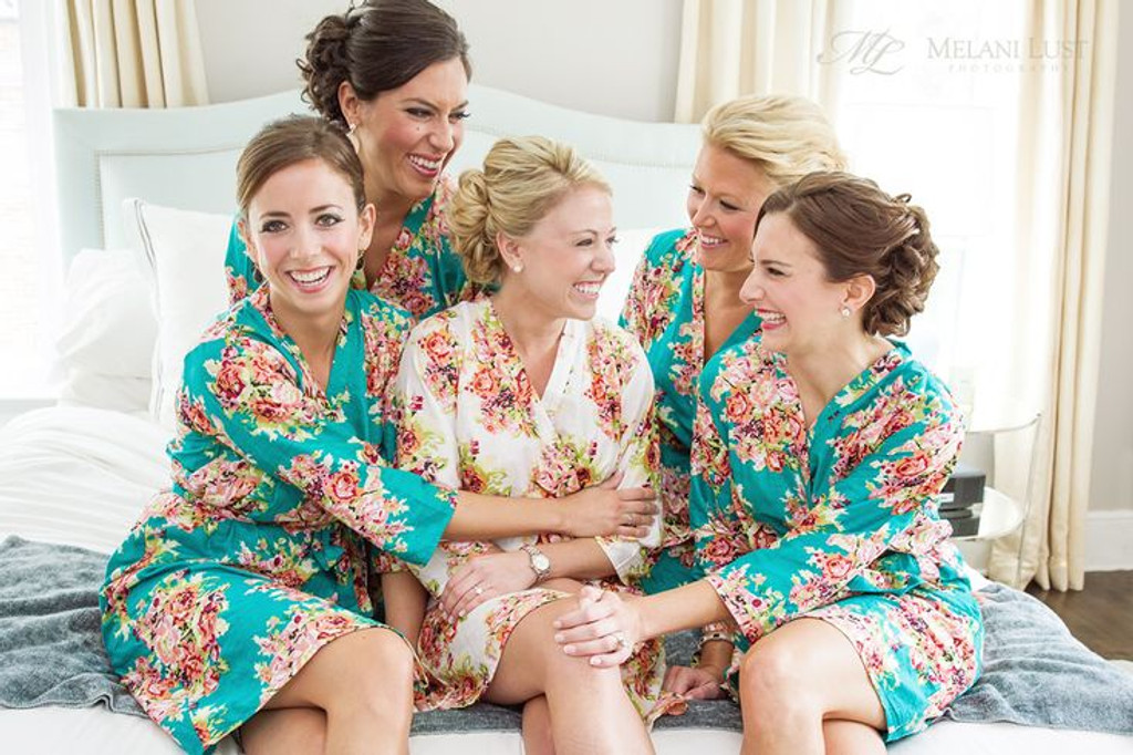 Teal Floral Posy Robes For Bridesmaids