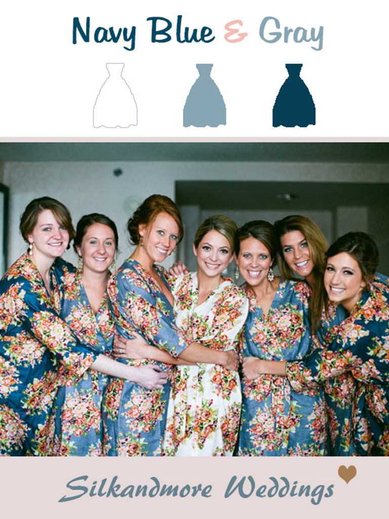 Navy Blue and Gray Wedding Color Robes