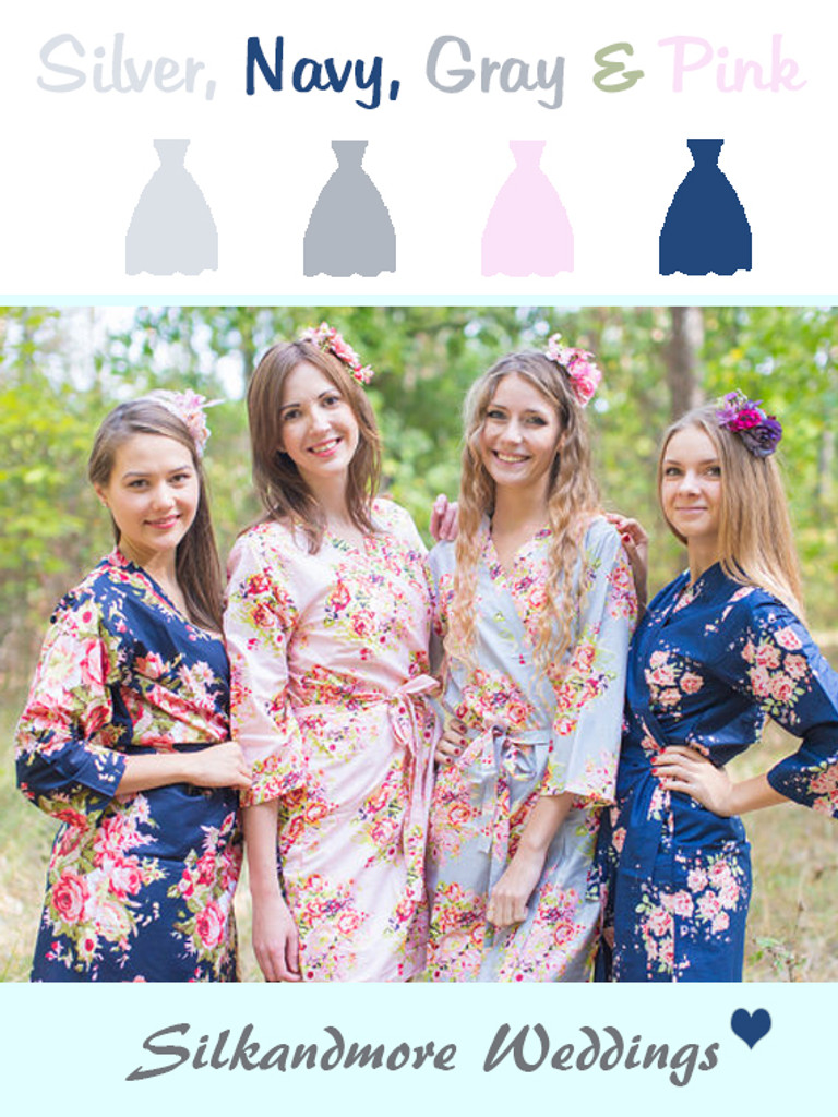 Gray, Navy Blue and Pink Wedding Color Robes