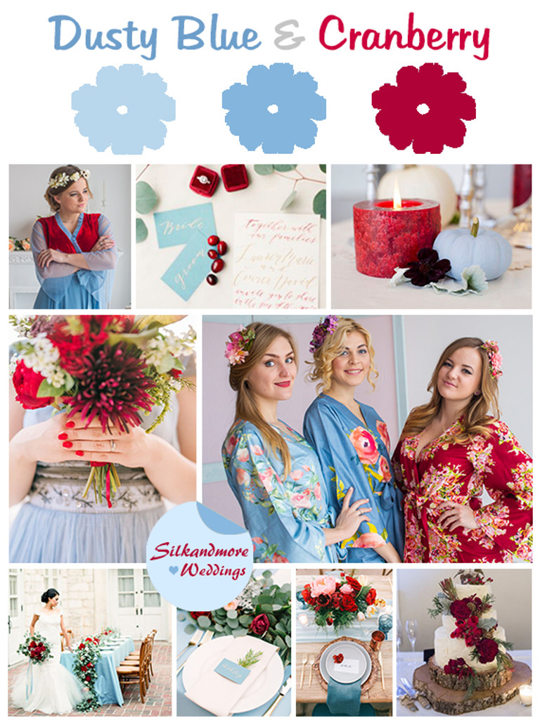 Dusty Blue and Cranberry Wedding Colors Palette - Robes by silkandmore