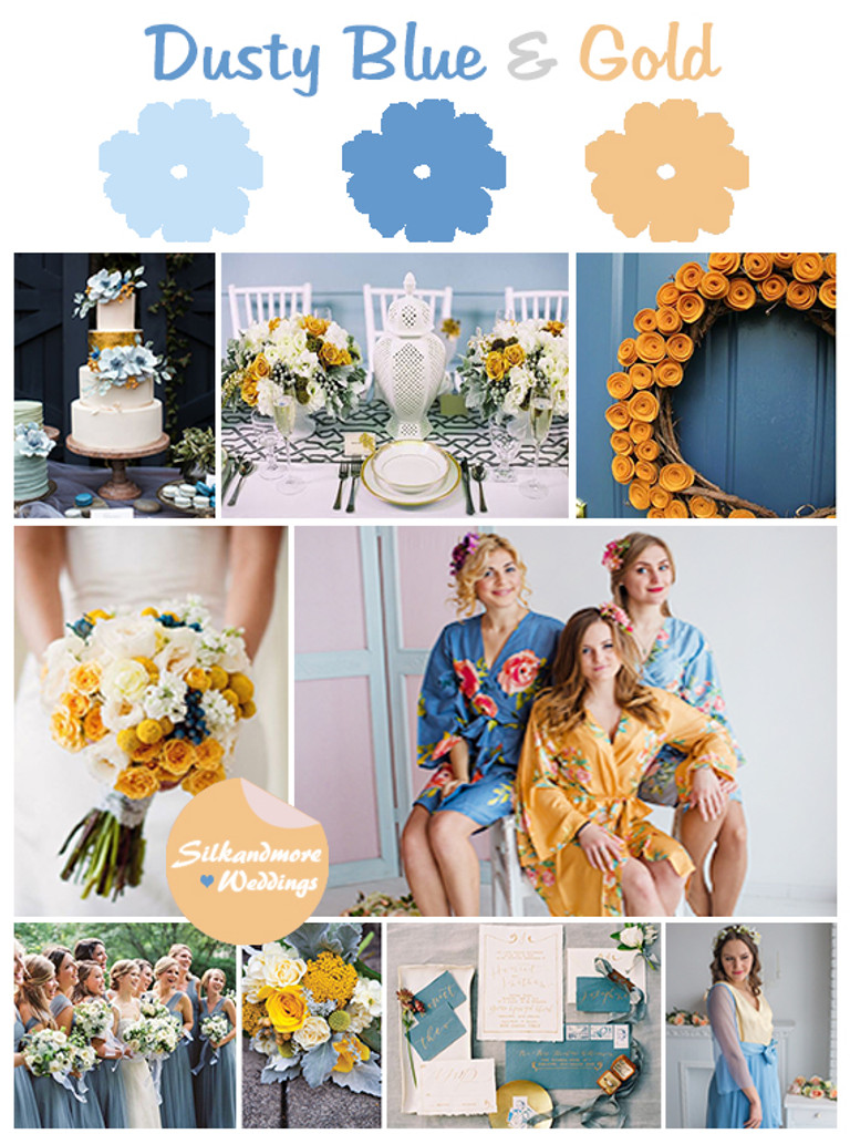 Dusty Blue And Gold Wedding Colors Palette