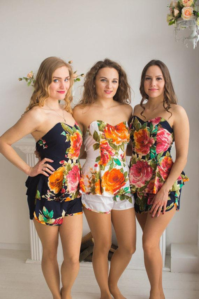 Strapless Style PJs in Large Floral Blossom Pattern