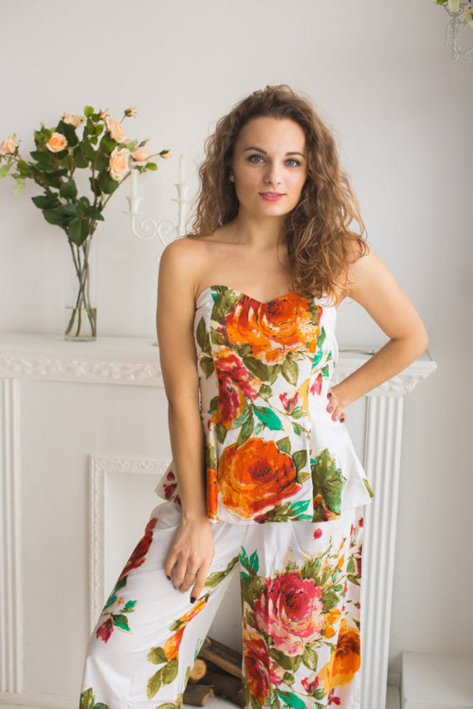 Strapless Style PJs in Long Large Floral Blossom Pattern