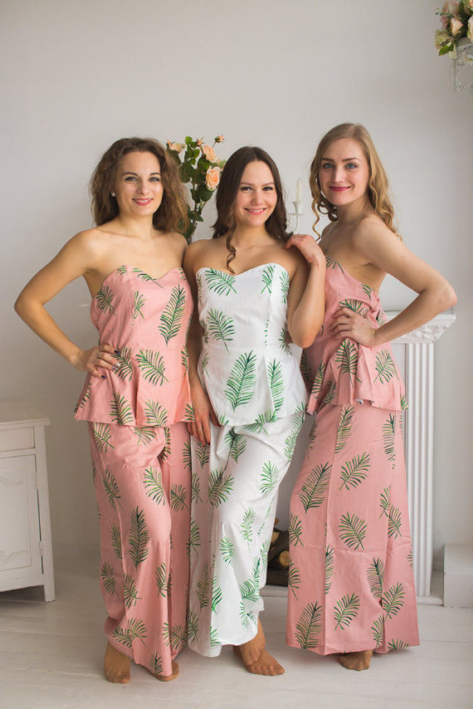 Strapless Style Long PJs in Tropical Delight Palm Leaves Pattern