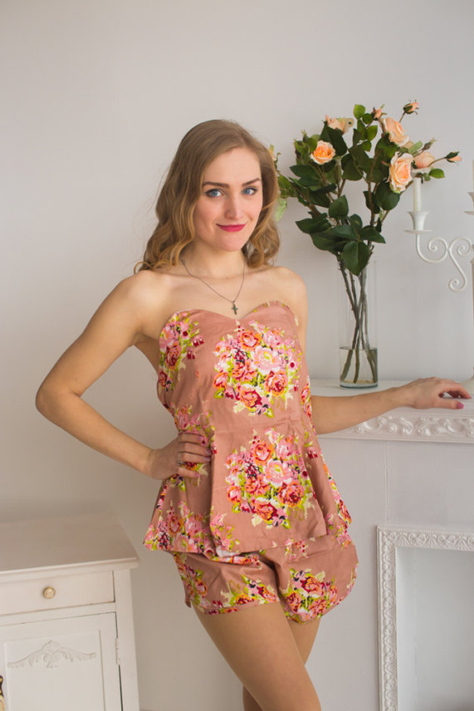 Strapless Style PJs in Floral Posy Pattern