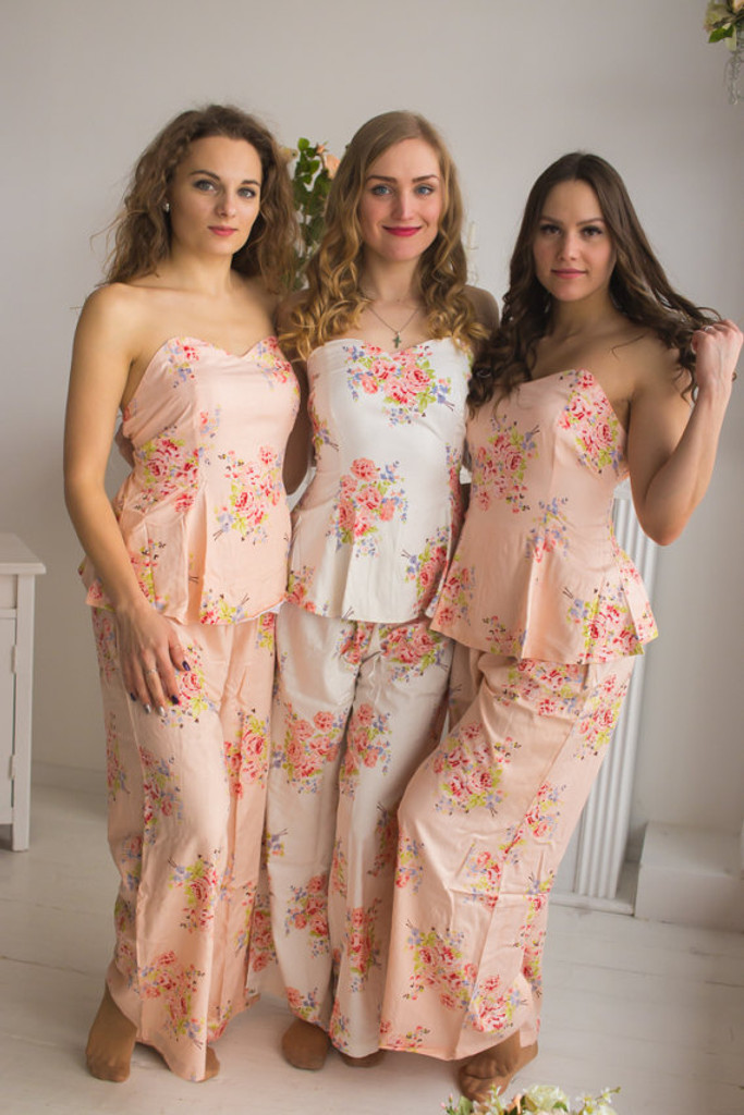 Blush Strapless Style Long PJs in Faded Flowers Pattern
