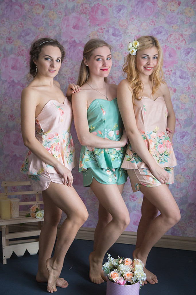 Sage, Blush and Dusty Rose Wedding Color PJs in Strapless Style