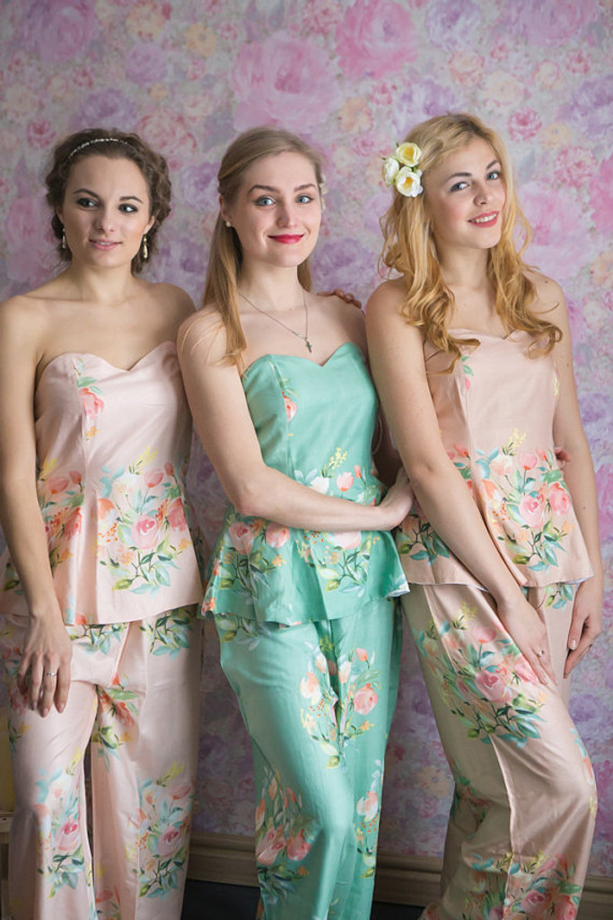 Sage, Blush and Dusty Rose Wedding Color long PJs in Strapless Style