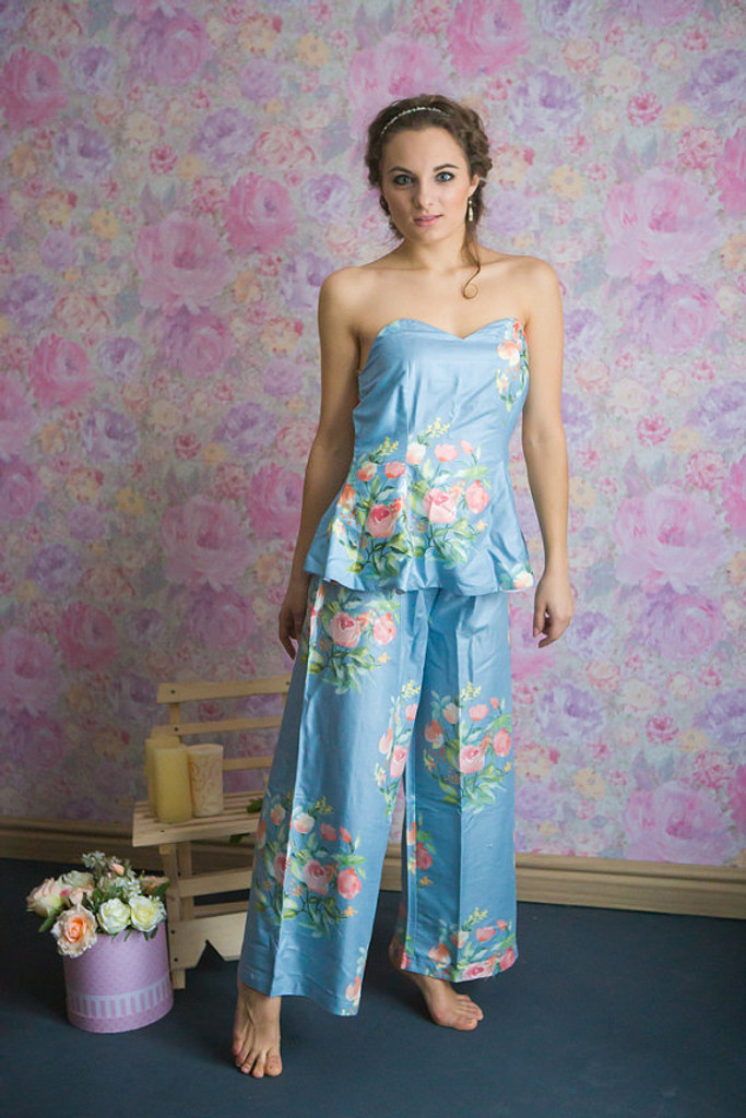 Dusty Blue and Powder Blue Wedding Color Long Pj Sets in Strapless Style