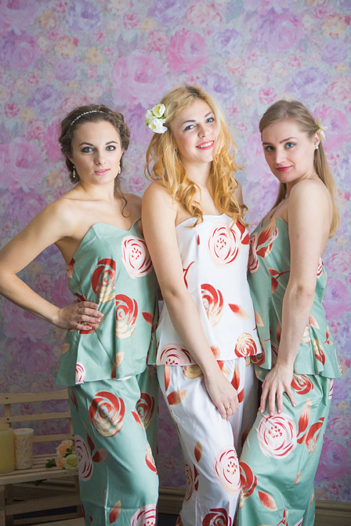 Strapless Style long PJs in a rumor among fairies Pattern