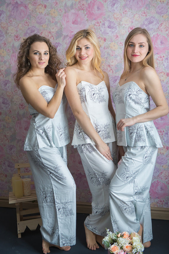 Strapless Style Long PJs in Floral Sketch Pattern