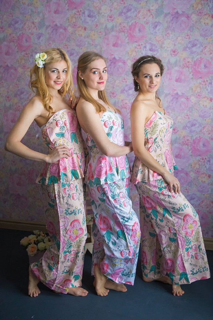 Strapless Style Long PJs in Whimsical Giggles Pattern