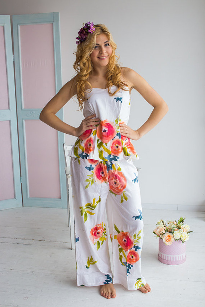 Strapless Style long PJs in Smiling Blooms Pattern