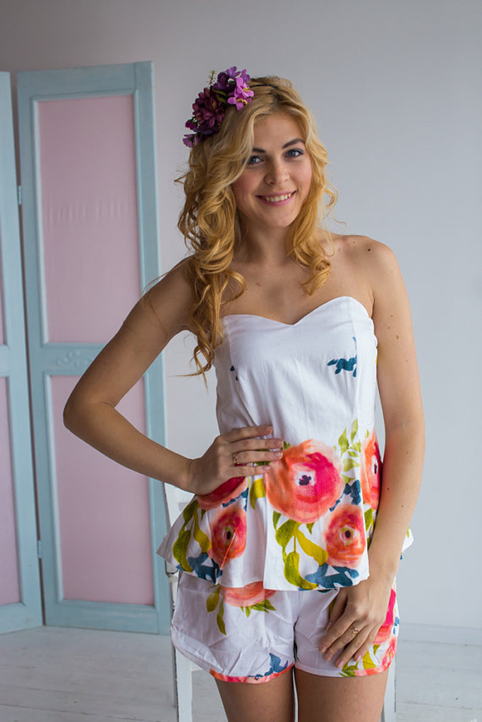 Strapless Style PJs in Smiling Blooms Pattern