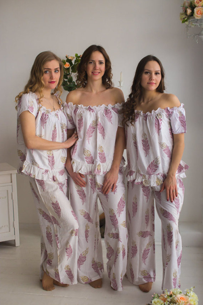 Off the Shoulder Style PJs in a feather rhyme Pattern_full length