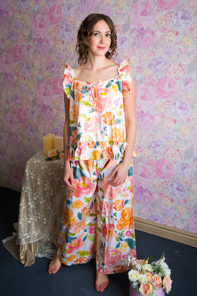 Ruffled Style Long PJs in Her Petal Garden Pattern