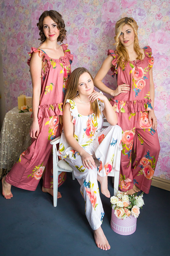 Ruffled Style Long PJs in Smiling Blooms Pattern