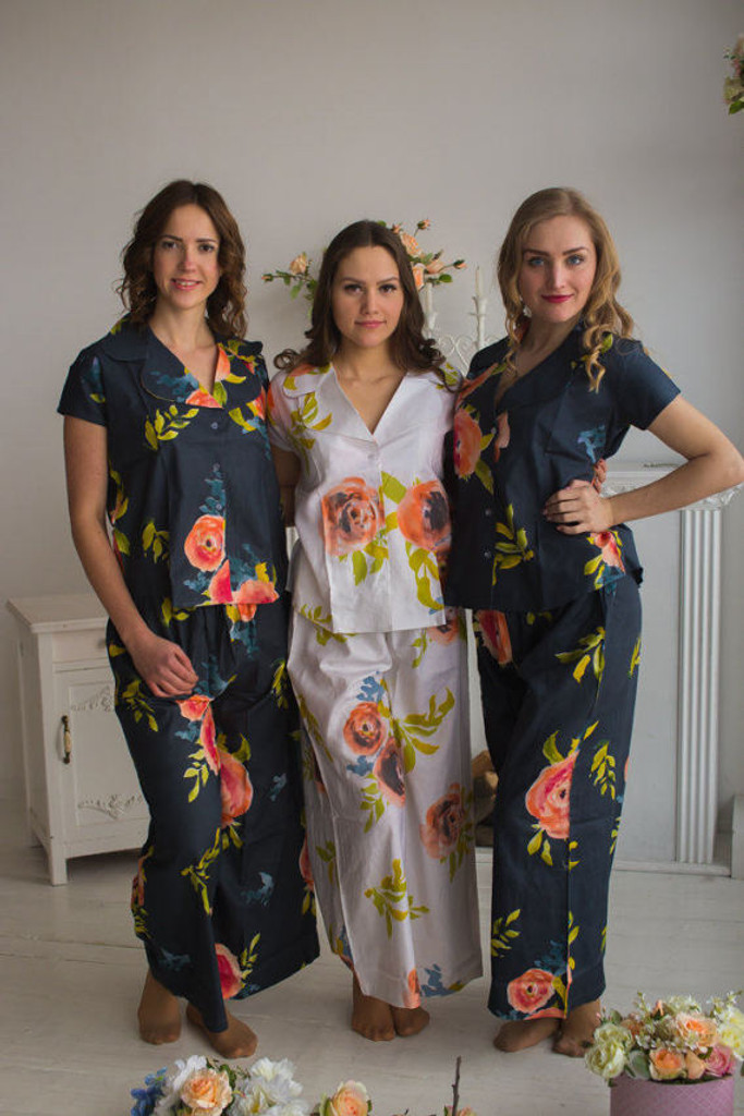 Notched Collar Style long PJs in Smiling Blooms Pattern