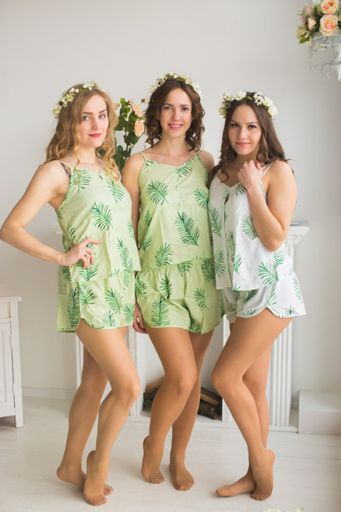 Spaghetti Style PJs in Tropical Delight Palm Leaves Pattern