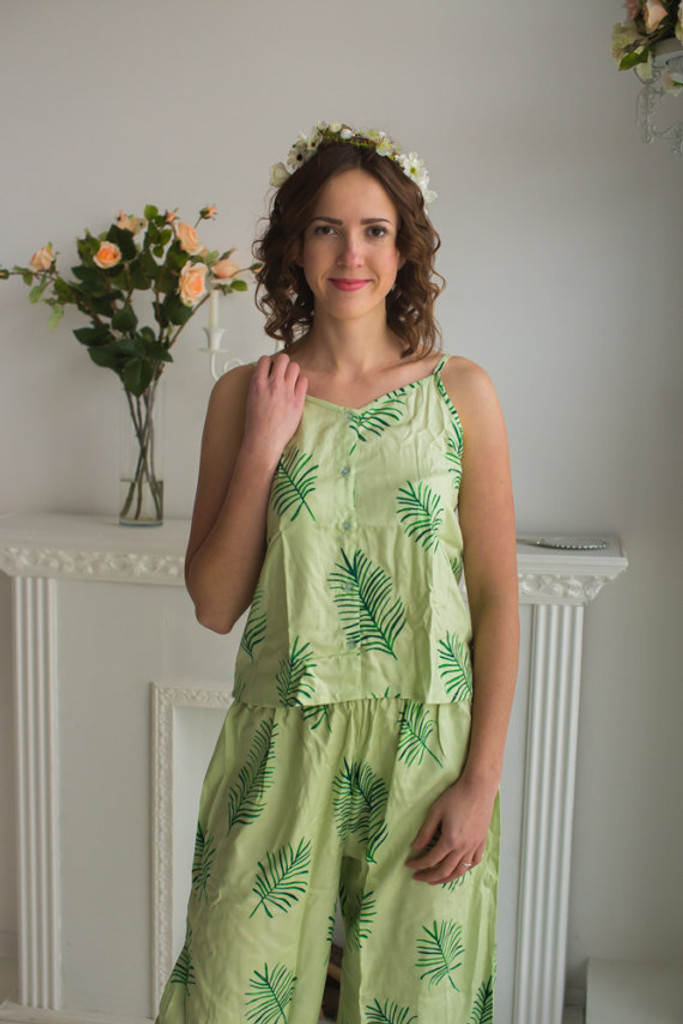 Spaghetti Style Long PJs in Tropical Delight Palm Leaves Pattern