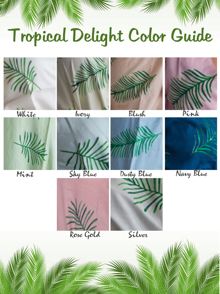 Tropical Delight Palm Leaves Pattern color guide.