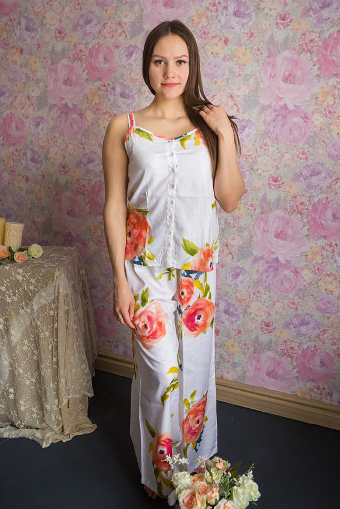 Spaghetti Style Long PJs in Smiling Blooms Pattern