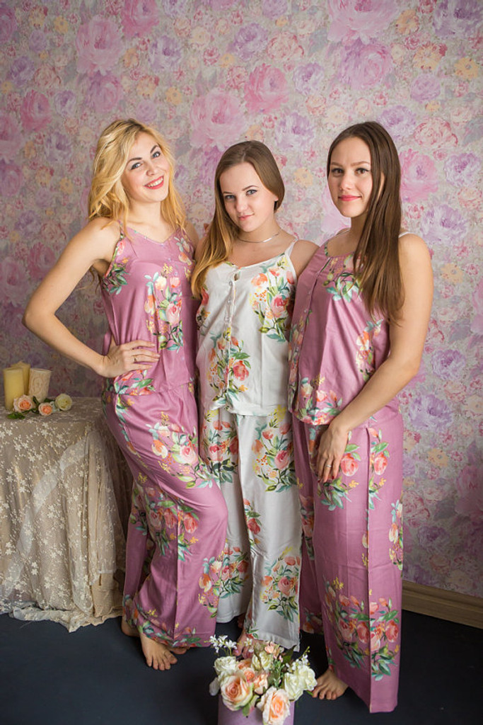 Spaghetti Style Long PJs Sets in Angel Song Pattern