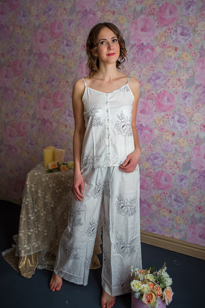 Spaghetti Style PJs in Floral Sketch Pattern_long