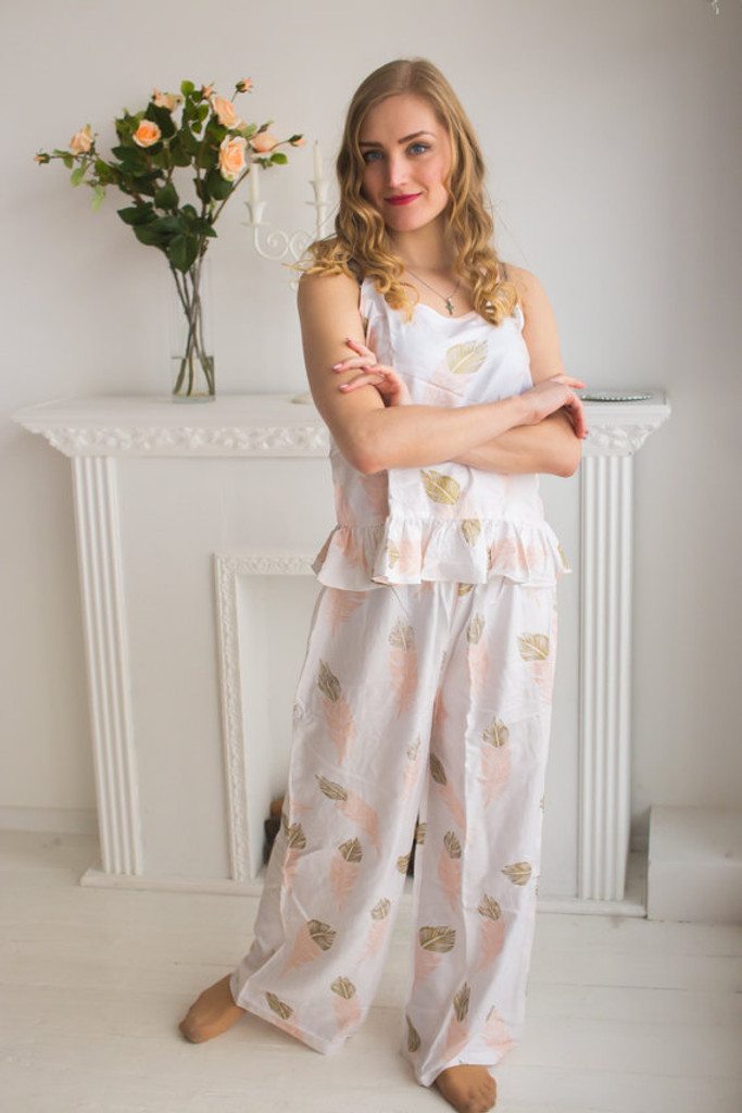 Frilly Style Long PJs n a feather rhyme Pattern