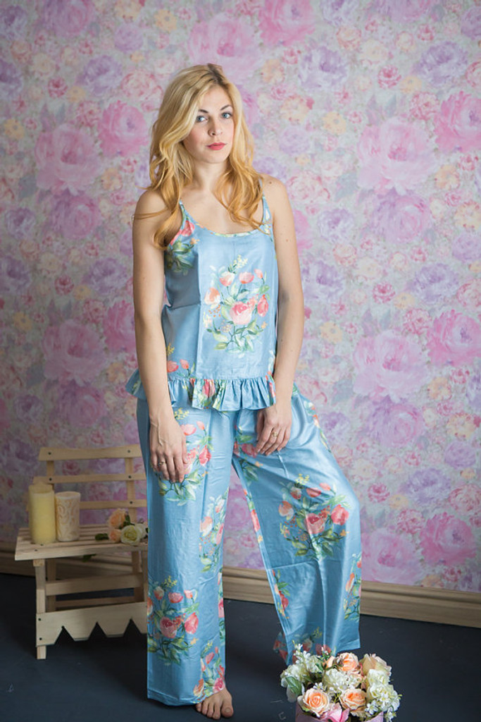 Frilly Style long PJs in Angel Song Pattern