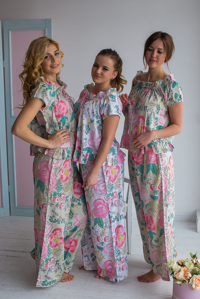 Frilly Neck Long Style PJs in Whimsical Giggle Pattern