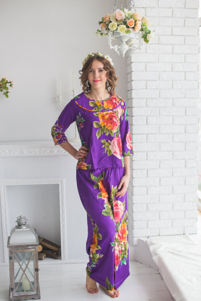 Boat Neckline Style Long PJs in Large Floral Blossom Pattern